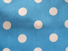 Turquoise with 20mm White Spot Polyotton Fabric
